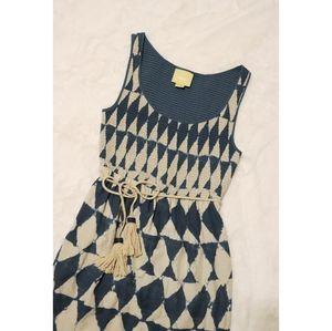 Anthropologie Dresses - Anthro Maeve Castalia Indigo Tie Dye Tassel Dress